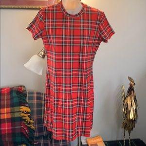 ❤️NWT H&M Divided red plaid tartan knit dress sz L